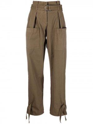 Зауженные брюки карго Pinko. Цвет: зеленый
