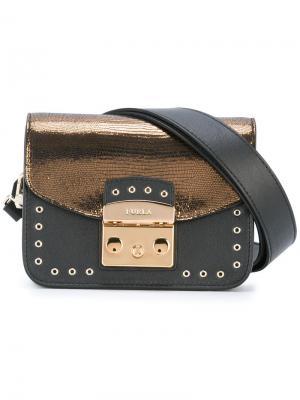 Двухцветная сумка на плечо Furla. Цвет: чёрный