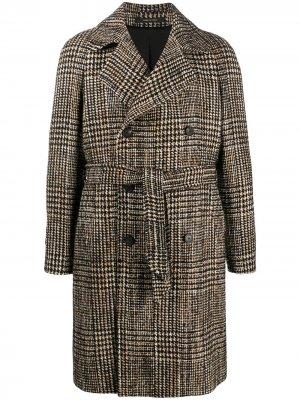 Двубортное пальто в клетку Tagliatore. Цвет: черный