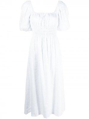Платье миди Maurelle со сборками Faithfull the Brand. Цвет: белый