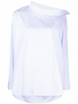 Полосатая блузка асимметричного кроя Maison Kitsuné. Цвет: синий