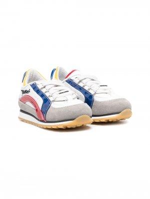 Кеды на шнуровке с логотипом Dsquared2 Kids. Цвет: белый