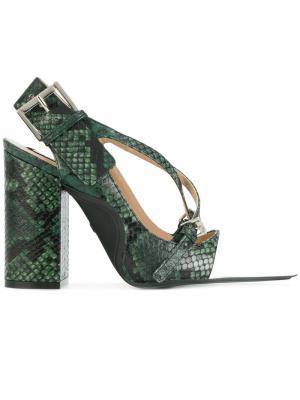 Туфли с эффектом змеиной кожи Nº21. Цвет: зеленый