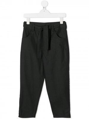 Прямые брюки с завязками Douuod Kids. Цвет: серый