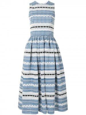 Платье миди в клетку гингем без рукавов Carolina Herrera. Цвет: синий