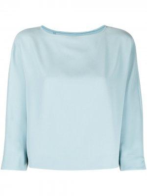 Креповая блузка свободного кроя Emporio Armani. Цвет: зеленый