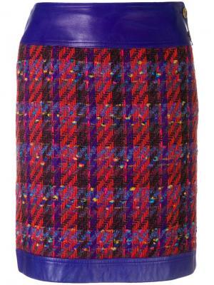 Прямая твидовая юбка Chanel Vintage. Цвет: красный