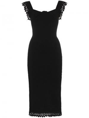 Вязаное платье без рукавов с оборками Hotham Roland Mouret. Цвет: черный