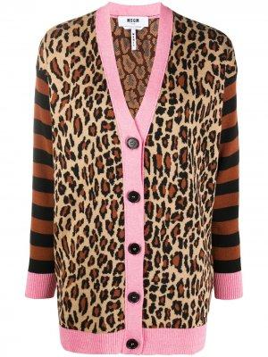 Кардиган с леопардовым принтом MSGM. Цвет: черный