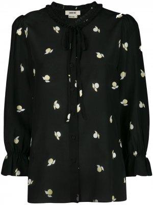 Блузка с завязками на воротнике и принтом Jason Wu. Цвет: черный