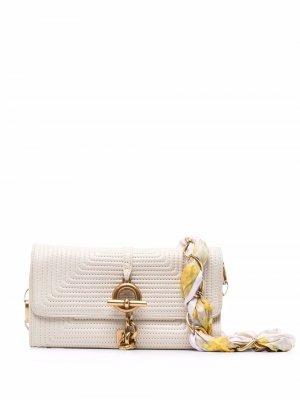 Стеганая мини-сумка через плечо Zimmermann. Цвет: белый