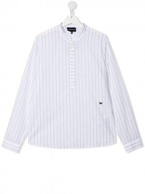 Полосатя рубашка с длинными рукавами Emporio Armani Kids. Цвет: белый