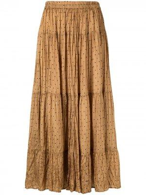 Плиссированная юбка в горох Mes Demoiselles. Цвет: коричневый