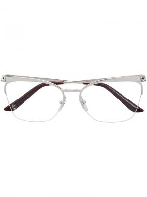 Panthère square frame glasses Cartier. Цвет: серебряный