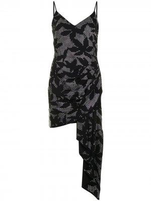 Платье асимметричного кроя с кристаллами David Koma. Цвет: черный