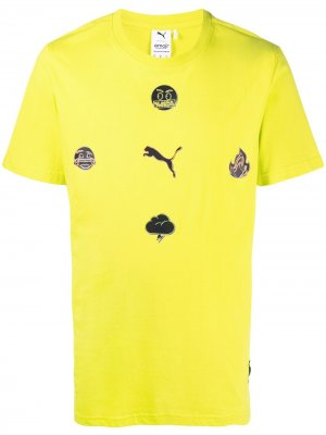 Футболка оверсайз из коллаборации с Emoji Puma. Цвет: желтый
