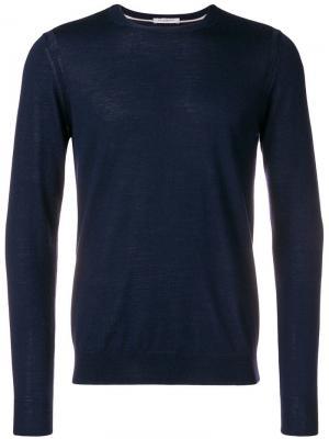 Приталенный свитер с длинными рукавами Paolo Pecora. Цвет: синий