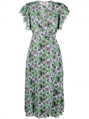 Платье с запахом и цветочным принтом DVF Diane von Furstenberg. Цвет: синий