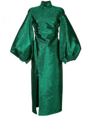 Платье с эффектом металлик CAMILLA AND MARC. Цвет: зеленый