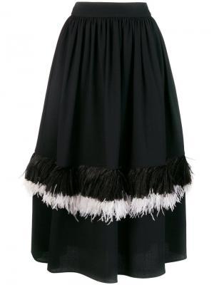 Расклешенная юбка с отделкой перьями Christopher Kane. Цвет: черный