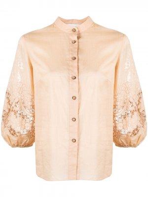 Рубашка с пышными рукавами и кружевом Zimmermann. Цвет: нейтральные цвета