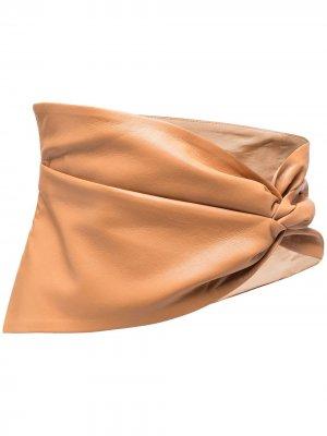 Пояс на пуговицах с драпировкой Nanushka. Цвет: коричневый