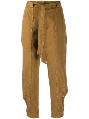 Укороченные зауженные брюки Carmen Ulla Johnson. Цвет: коричневый