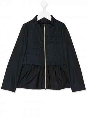 Стеганая куртка со вставками Herno Kids. Цвет: синий