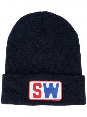 Шапка бини с нашивкой-логотипом Saintwoods. Цвет: синий