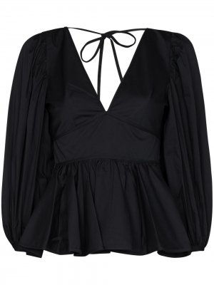 Блузка Luna с баской STAUD. Цвет: черный
