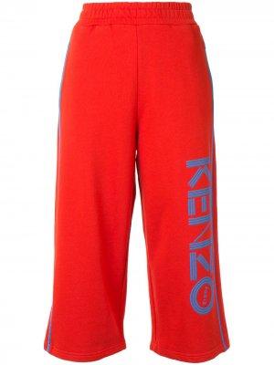 Укороченные спортивные брюки с логотипом Kenzo. Цвет: красный