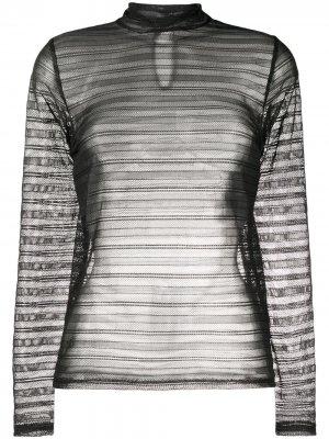 Сетчатая блузка в полоску Dorothee Schumacher. Цвет: черный