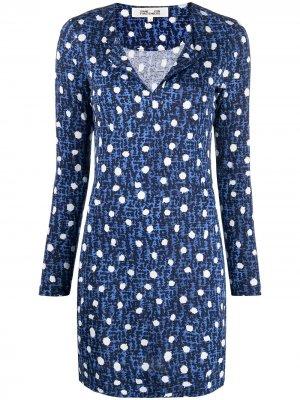 Платье мини с принтом DVF Diane von Furstenberg. Цвет: синий