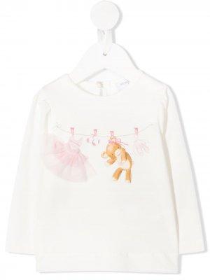 Блузка с принтом Monnalisa. Цвет: белый