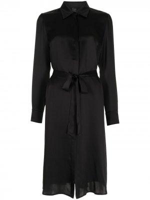Атласное платье-рубашка с завязками Carine Gilson. Цвет: черный