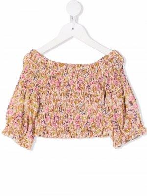 Блузка со сборками и принтом Miss Grant Kids. Цвет: нейтральные цвета