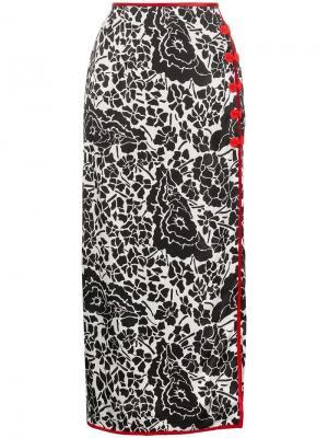 Юбка макси с цветочным принтом и бархатной отделкой De La Vali. Цвет: разноцветный