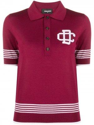 Рубашка поло с полосками и логотипом Dsquared2. Цвет: красный