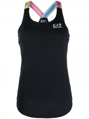 Топ без рукавов с логотипом Ea7 Emporio Armani. Цвет: черный