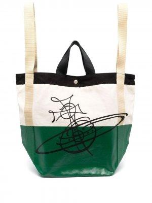 Дорожная сумка Worker Runner из канваса Vivienne Westwood. Цвет: зеленый