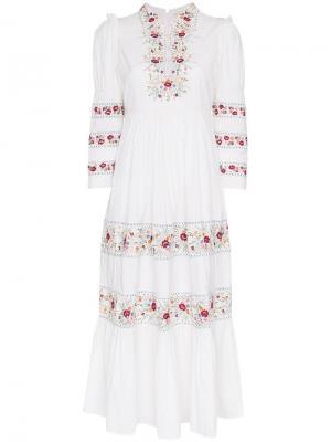 Платье миди с цветочной вышивкой By Timo. Цвет: белый