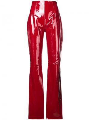 Виниловые расклешенные брюки 16Arlington. Цвет: красный