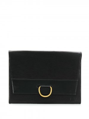 Клатч 1989-го года с клапаном pre-owned Louis Vuitton. Цвет: черный