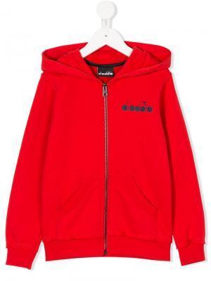 Logo print zip jacket Diadora Junior. Цвет: красный