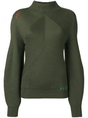 Структурированный трикотажный свитер Carven. Цвет: зеленый