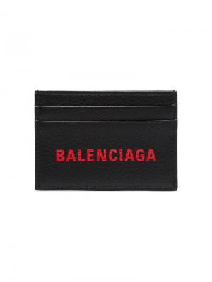 Футляр для карт с принтом логотипа Balenciaga. Цвет: черный