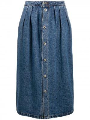 Джинсовая юбка миди на пуговицах MSGM. Цвет: синий