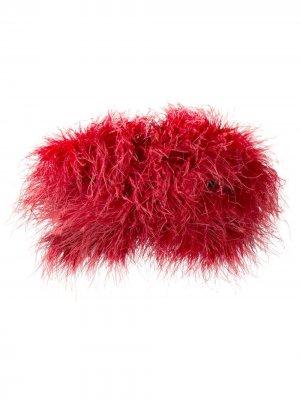 Топ-корсет с перьями Loulou. Цвет: красный