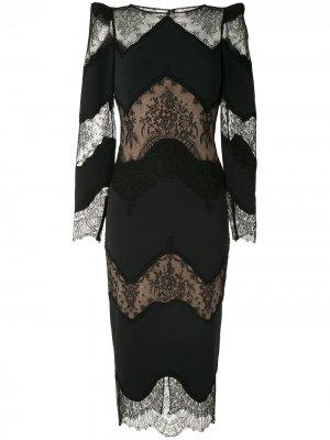 Платье миди с кружевными вставками Zuhair Murad. Цвет: черный