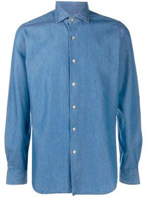 Джинсовая рубашка с длинными рукавами Xacus. Цвет: синий